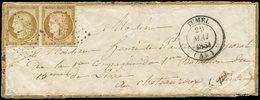 Let EMISSION DE 1849 - 1    10c. Bistre-jaune, PAIRE Obl. PC 1354 S. Env. Décorée, Càd T14 FUMEL 29/5/53, R Et TB. C - 1849-1850 Ceres