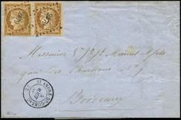 Let EMISSION DE 1849 - 1    10c. Bistre-jaune, 2 Ex. Obl. PC 2979 S. LAC, Càd T15 St ANDRE-DE-CUBZAC 5/8/56, TTB - 1849-1850 Ceres