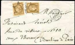 Let EMISSION DE 1849 - 1    10c. Bistre-jaune, 2 Ex. Obl. ETOILE S. Faire-part, Càd 3e PARIS 13 21/4/52, Arr. LES TERNES - 1849-1850 Ceres