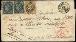 Let EMISSION DE 1849 - 1 Et 4, 10c. Bistre Et 25c. Bleu (2), Obl. GRILLE S. LAC, Càd T15 ANTIBES 28/11/50 Et PP Rouge, P - 1849-1850 Ceres