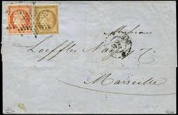 Let EMISSION DE 1849 - 1 Et 5, 10c. Bistre Et 40c. Orange Obl. ETOILE S. LSC De Paris à MARSEILLE 29/12/52, TB - 1849-1850 Ceres