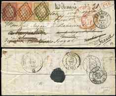 Let EMISSION DE 1849 - 1, 5 Et 6, 10c., 40c. Et 1f. Obl. GRILLE S. LAC, Càd T15 FALAISE 29/4/51, Arr. St PIERRE MARTINIQ - 1849-1850 Ceres