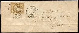 Let EMISSION DE 1849 - 1b   10c. Bistre-VERDATRE, Obl. GRILLE S. LAC, Càd T15 DAX 5/6/51, TTB - 1849-1850 Ceres