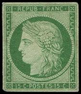 (*) EMISSION DE 1849 - 2    15c. Vert, TB, Certif. Calves - 1849-1850 Ceres