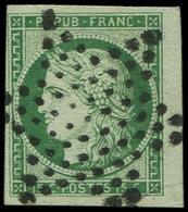 EMISSION DE 1849 - 2b   15c. Vert FONCE, Obl. ETOILE, Petit Bdf, TTB - 1849-1850 Ceres