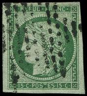 EMISSION DE 1849 - 2b   15c. Vert FONCE, Obl. ETOILE, TB. C - 1849-1850 Ceres