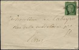 Let EMISSION DE 1849 - 2    15c. Vert, Oblitéré ETOILE S. LAC, Au Verso Càd PARIS 25/12/52, TTB. C - 1849-1850 Ceres