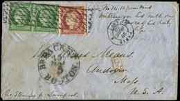 Let EMISSION DE 1849 - 2 Et 6, 15c. Vert PAIRE Et 1f. Carmin à Peine Effl. En Angle, Obl. GRILLE SANS FIN S. Env., Càd P - 1849-1850 Ceres