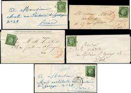 Let EMISSION DE 1849 - 2    15c. Vert, 5 Ex. Défx, Obl. Sur 5 Lettres, B Et B/TB - 1849-1850 Ceres