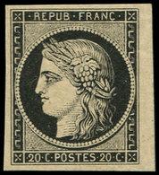 ** EMISSION DE 1849 - 3    20c. Noir Sur Jaune, Petit Bdf, TTB. C - 1849-1850 Ceres