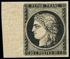 ** EMISSION DE 1849 - 3a   20c. Noir Sur Blanc, Bdf, Superbe, Certif. Calves - 1849-1850 Ceres