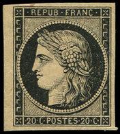 * EMISSION DE 1849 - 3    20c. Noir Sur Jaune, Pet. Ch., TB - 1849-1850 Ceres
