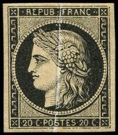 * EMISSION DE 1849 - 3    20c. Noir, PLI ACCORDEON, Spectaculaire Et RR, TB. C - 1849-1850 Ceres