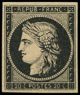 * EMISSION DE 1849 - 3h   20c. Noir Intense S. Teinté, Inf. Ch., TTB - 1849-1850 Ceres