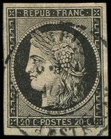 EMISSION DE 1849 - 3    20c. Noir Sur Jaune, Format étiré 18 X 22 Et Petite Amorce De Pli Accordéon, Obl. Càd, TB. J - 1849-1850 Ceres