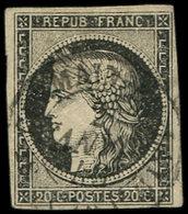 EMISSION DE 1849 - 3    20c. Noir Sur Jaune, Obl. Càd T15 ST GERMAIN EN LAYE 2 JANV 49, TB - 1849-1850 Ceres