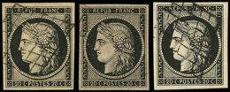 EMISSION DE 1849 - 3 Et 3a, 3 Nuances Bien Distinctes, Obl. GRILLE, TB/TTB - 1849-1850 Ceres