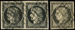 EMISSION DE 1849 - 3 Et 3a, Unité Et PAIRE Obl. GRILLE, TB - 1849-1850 Ceres