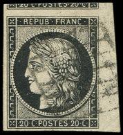 EMISSION DE 1849 - 3a   20c. Noir Sur Blanc, Petit Bdf Et Voisin, Obl. GRILLE, TTB - 1849-1850 Ceres