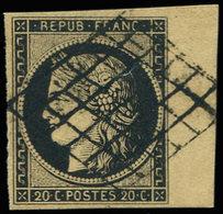 EMISSION DE 1849 - 3b   20c. Noir Sur CHAMOIS, Bdf, Obl. GRILLE, TTB - 1849-1850 Ceres