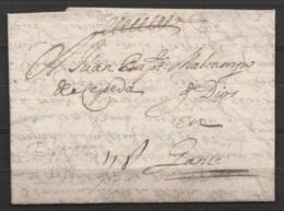 """Espagne - L. Datée 6 Juillet 1677 Pour GAND - Port """"11D"""" - ...-1850 Préphilatélie"""