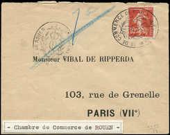 Let Spécialités Diverses - TIMBRES DE GREVE Poste N°138 Obl. CHAMBRE DE COMMERCE DE ROUEN S. Env., Grève De 1909, TB - Poststempel (Briefe)