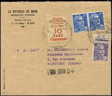 Let Spécialités Diverses - TIMBRES DE GREVE, ORLEANS 3 : 10f. Rouge-brique Sur Jaune + Poste N°883 Et 886 Paire Obl. S.  - Poststempel (Briefe)