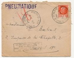 FRANCE - Deux Enveloppes Affr 3F Pétain - Pneumatiques De Paris 1942 - Timbres Défectueux - 1941-42 Pétain