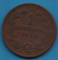 BADEN 1 KREUZER 1844 KM# 203 LEOPOLD GROSHERZOG - [ 1] …-1871 : German States