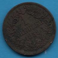 BADEN 1 KREUZER 1859 KM# 242 Friedrich I - [ 1] …-1871 : German States