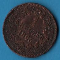 BADEN 1 KREUZER 1865 KM# 242 Friedrich I - [ 1] …-1871 : German States
