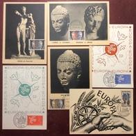 CM0720 Unesco Service 22 23 25 PJ 1961 Europa 1123 Strasbourg 1957 + 1309 1310 Exposition Paris 1961 Lot 6 Carte Maximum - Cartes-Maximum
