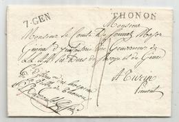 HAUTE SAVOIE MARQUE THONON LETTRE COMTE SONNAZ MAJOR GENERAL INFANTERIE + FRANCHISE HOSPICE THONON 1832 +OISEAU - Marcophilie (Lettres)