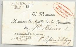 SAVOIE MARQUE CHAMBERY LETTRE FRANCHISE COMMANDEMENT DE CHAMBERY POUR ST REINE SAVOIE - 1801-1848: Precursors XIX