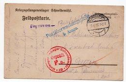 CARTE DE PRISONNIER GUERRE 1914 18 CACHET SCHNEIDEMHAL  1916 - Storia Postale