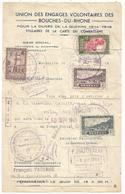 SENEGAL SOMALIS SOUDAN FEUILLE ENTETE UNION ENGAGES VOLONTAIRES BOUCHES DU RHONE MARSEILLE SEPT 1945 - Marcophilie (Lettres)