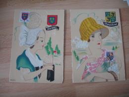 1954 Lot Dee 3 Armoieries Berri Dauphine Champagne  Cm C M Carte Maximum - Maximum Cards