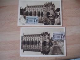1944 Lot De 2 Chateau Chenonceaux 2 Valeurs   Cm C M Carte Maximum - 1940-49