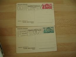 Lot De 2 Memorial Australien Villers Bretonneux  T S C Entier Postal Entiers Postaux - Postwaardestukken