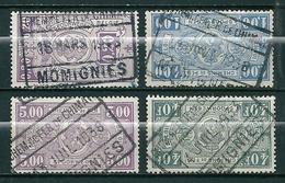 TR 146 + 157 + 165 + 237 Gestempeld CHEM DE FER DE CHIMAY - MOMIGNIES - Bahnwesen