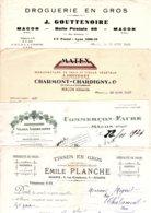 LOT Factures MACON  GOUTTENOIRE Droguerie, Planche Tissus, COMMERCON-FAURE Viticulteur, CHARMONT-CHARDIGNY Tapis - France