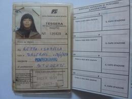 """Tessera Abbonamento """"FERROVIE DELLO STATO - ABBONAMENTO RIDOTTO TRATTA SALERNO / PONTECAGNANO"""" 1991 - Season Ticket"""
