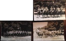"""3 Cartes Photo, 1933, La Courtine, """"départ De Manoeuvre"""", Cavaliers, Militaires, Camp, 23-Creuse - Manovre"""