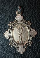 """Pendentif Médaille Religieuse XIXe Argent 800 Vermeil """"Médaille De Communion 1895"""" Silver Religious Medal - Religion & Esotericism"""