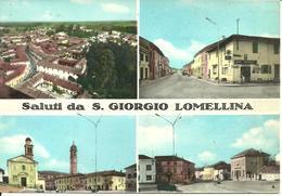 San Giorgio Lomellina (Pavia) Vedute: Panorama Aereo, Via Botta, Bar Centrale, Chiesa San Giorgio, Piazza P. Corti - Pavia