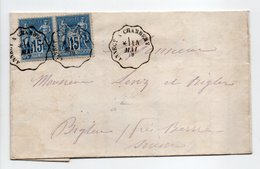 - Lettre RUMILLY (Haute-Savoie) Pour BIGLEN Via GR. HÖCHSTETTEN (Suisse) 14 MAI 1879 - Bel Affranchissement Type Sage - - Marcofilia (sobres)