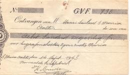 Wissel - Reçu - Kerkfabriek Aalter Pastoor Brewée - Begrafenis Maria Saelens - 1943 - Lettres De Change