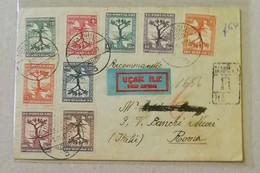 Raccomandata Per Via Aerea Istanbul-Roma - 01/11/1931 Affrancata Con Serie Completa 2ème Conference Balkanique - Storia Postale