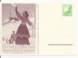 Dt- Reich (002902) Propaganda Ganzsache P246 Reichstagung Der NSG Kraft Durch Freude Hamburg, Ungebraucht - Enteros Postales
