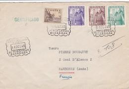 Env Recommandé T.P. Ob De Muestras Zaragoza 14 Oct 49 Pour Narbonne, Aude - 1931-Heute: 2. Rep. - ... Juan Carlos I